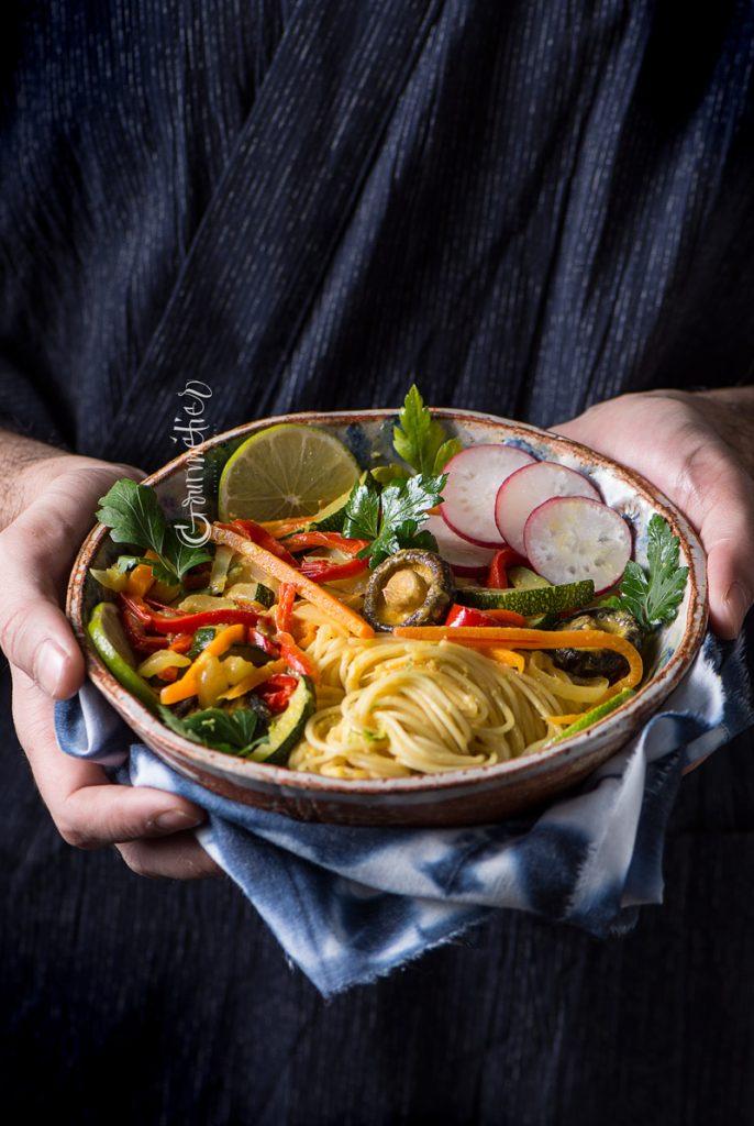 Fideos con verduras y salsa de curry: receta para TVE – Cámara abierta 2.0