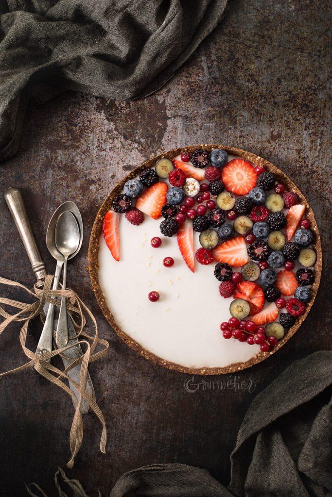 Tarta de frutos rojos vegana y sin gluten